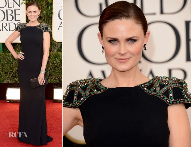 Emily-Deschanel-In-Badgley-Mischka-2013-Golden-Globe-Awards